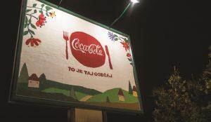 Шерстяной билборд Coca-Cola